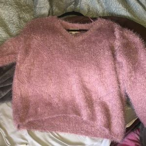 Fluffy long sleeve pink sweater